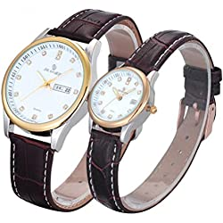 Valentine's Day Gifts, Hansee Lovers' Watches, Leather Band, Couple Ultrathin Waterproof Quartz Watch (Brown)