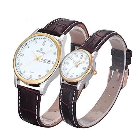 Jour de Saint Valentin, cadeaux, Hansee Lovers ', montres Bande de cuir, Couple Ultrathin étanche montre à quartz (Marron)