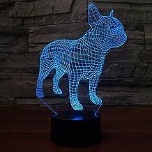 3d Illusion Bulldog frances perro Lámpara luces de la noche ajustable 7 colores LED 3d Creative