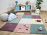 Maui Kinder Teppich Kids Pastel Bunt Karo Sterne in 5
