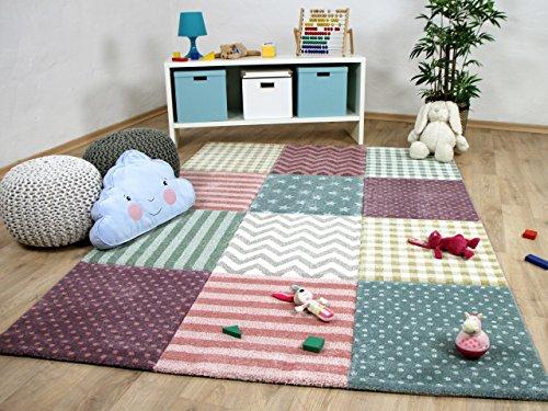 Kinder Teppich Maui Kids Pastel Bunt Karo Sterne in 5 Größen