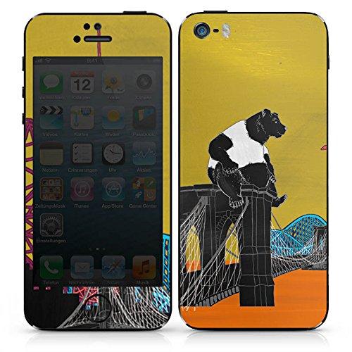 Apple iPhone SE Case Skin Sticker aus Vinyl-Folie Aufkleber Bär Panda Brücke DesignSkins® glänzend