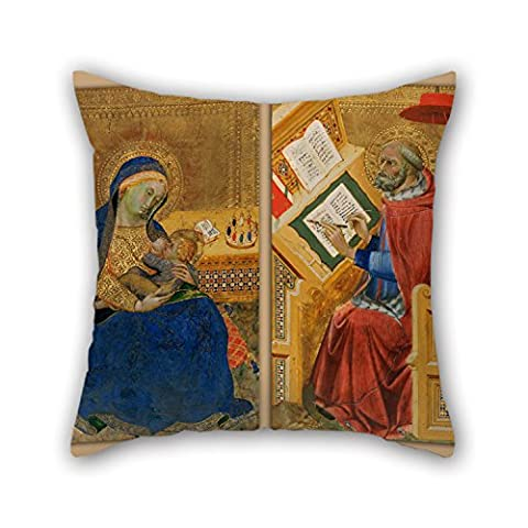 Uloveme Oil Painting Attributed To Benedetto Di Bindo - Virgin Of Humility (left) And Saint Jerome Translating The Gospel Of John (right) Throw Pillow Covers ,best For Adults,coffee House,living