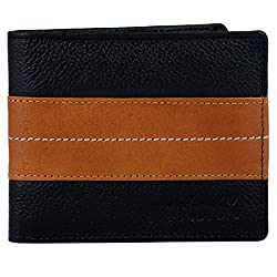Neoterix Tan Stripped Black Genuine Leather Wallet