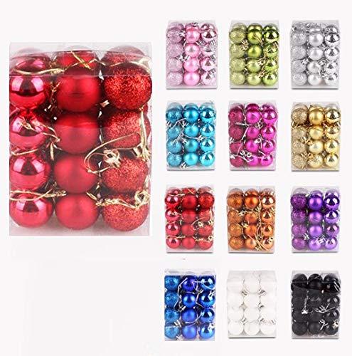 Iseasy confezione 24 palline di natale 3 cm, palline natalizie glitter opache lucide [x8 x8 x8], set palline natale rosse lucide piccole