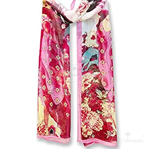 LS35-Soft & Translucent Silky Feeling Scarf with Chinese Ancient Lady & Oriental Floral Patterns on-lady in pink