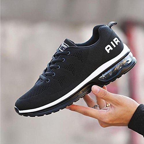 Suetar Sneaker Malla Transpirable Flyknit Zapatillas Con Ligeras Almohadillas De Aire Para La Primavera Y El Verano Zapatos Deportivos Para Hombres Y Mujeres Negro