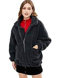ZAFUL Donna Cappotto Soffice Invernale Giacca Morbida Calda alla Moda  Pelliccia Sintetica Coat Zip Top 00e3a6e37b5