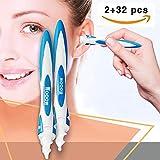 Nettoyant Oreille,Cire d'oreille remover - Spiral Ear Cleaner - Outil pour enlever la cire d'oreille. Ear Cleaner System * 2avec 32 embouts lavables.