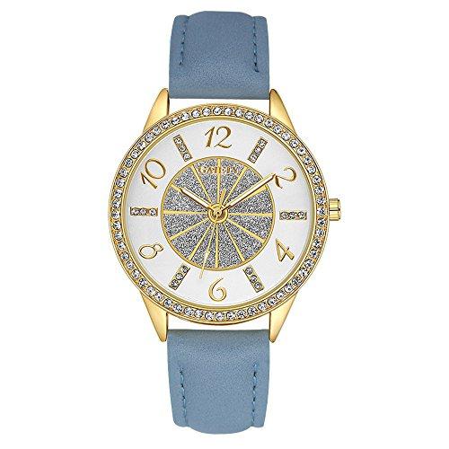 Yazilind Schmuck Mode Lederband Intarsien Strasssteine Quarz Große Armbanduhr(blau)