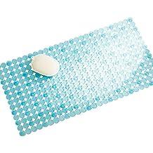 mDesign Ideal alfombra de baño antideslizante – Alfombra para la bañera con ventosas – Evite resbalones mientras se baña con esta bonita alfombra azul - Medidas: 43,18 cm x 11,6 cm