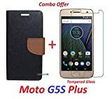 RidivishN (COMBO OFFER) Moto G5S Plus / Moto G5s Plus / Moto g5s plus / moto g5s+ Flip Cover Case Wallet Style For Moto G5s Plus ( Black:Brown ) + Premium Tempered Glass screen Protector - - - ( Transparent )