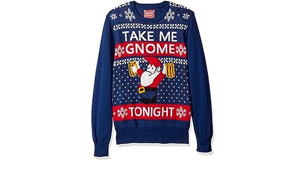 Hybrid Mens Take Me Gnome Tonight Ugly Christmas Sweater Amazonin