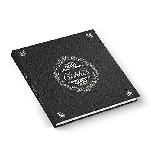 Besonderes Gästebuch Hochzeitsgästebuch chic edel SCHWARZ BEIGE Ornamenten quadratisch 21 x 21 cm 1a-Qualität vintage Nostalgie Geburtstag Hochzeit Ferienwohnung Kondolenzbuch