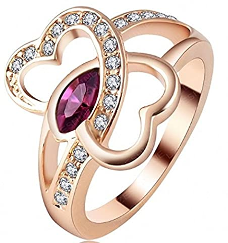 SaySure - Love Ring Real Rose Gold Plt Double Heart (SIZE : 9)