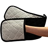 Ideal Textiles, Black Double Oven Gloves, Windsor Stripe, Heat Resistant, 100% Cotton, Extra Thick, Oversized
