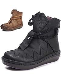 abfa26044b2 Shoe house Femmes Bottes en Cuir Vintage Veronica Bottines épaisse Corde  arrière Zip Mode Bottes en Cuir Haut…