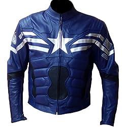 classyak Hombres del Soldado de América Capitán Fashion chaqueta de piel auténtica Azul Cow Blue XXXXX-Large