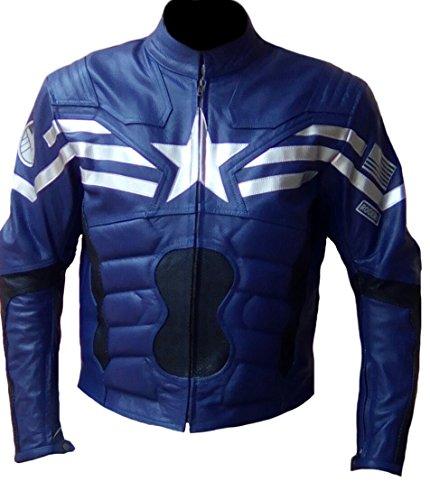 classyak Herren America Soldier Echtleder Captain Fashion Jacke Sheep Blue