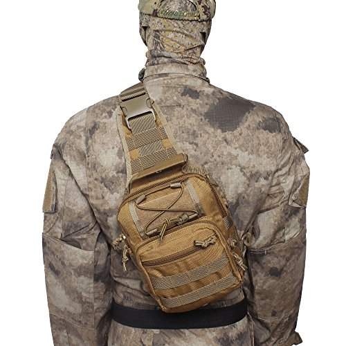 Airsson Military Shoulder Sling Chest Bag Pack Tactical Bagpack Molle Large Daypack for Outdoor Travel Camping Hiking Trekking 1000D Tan