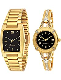 knack Attractive Square Black Dial Golden Round Diamond Studded Men's and Women's Watch