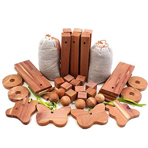 Trustskymall Cedar Blocks für Kleidung Lagerung 40PCS mit Chips Sachets, Planken, Hang Ups, Hanger Balls, Cubes, Block -