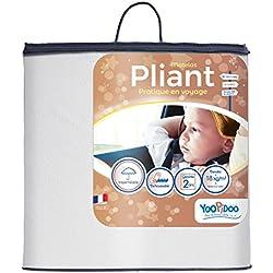 Yoopidoo - Matelas pliant bébé - 60 x 120 x 5 cm - Anti-acariens - Déhoussable - Confortable - Fabrication française