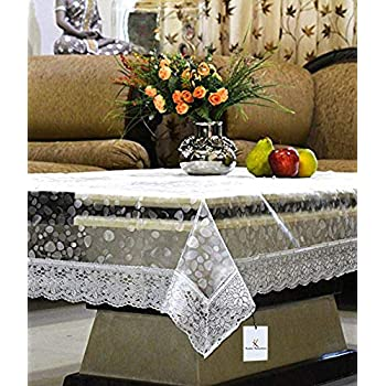 Kuber IndustriesTM Transparent 3D Design Center Table Cover 4 Seater 40 * 60 Inches (Silver Lace)