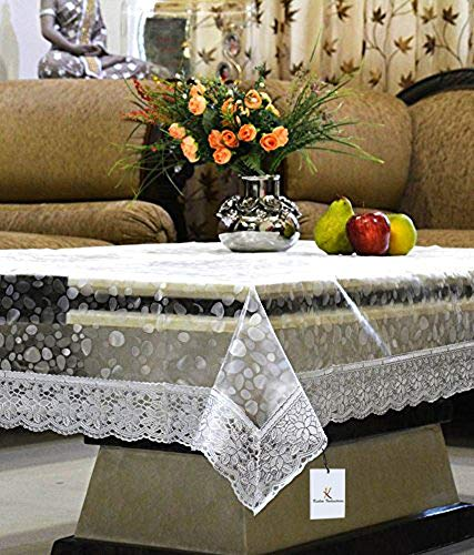 Kuber Industries PVC Table Cover - 3D Transparent, Silver Lace, 4 Seater