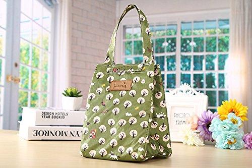 Rieovo pranzo portatile termica di raffreddamento, contenitori per alimenti isolato Carry Bag viaggi picnic borsa green forest