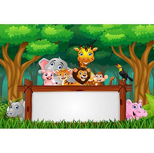 Geburtstag Fotohintergrund Wald Zootier Grüne Rasenfläche Hölzerne Leere Board Fotoleinwand Hintergrund für Fotostudio Requisiten Party Baby Kinder Photo Booth ()
