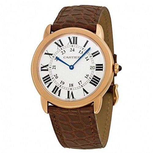 Cartier Ronde solo de Cartier-Bracciale unisex orologio 36mm Cinturino in pelle marrone vetro zaffiro batteria w6701008