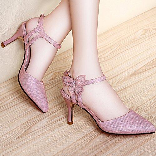 Donne scarpe in pelle estate sandalo tacchi,39 verde scuro Pink