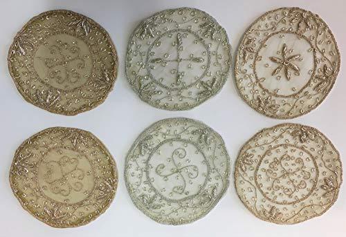 Daniele farinella 6 centrotavola rotondi di artigianato indiano,colori misti ricamati a mano con passamaneria,diametro cm 17l'uno