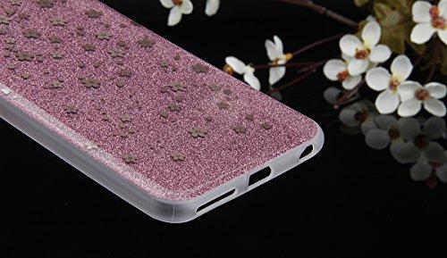 Cover iPhone 6S Plus,Cover iPhone 6 Plus, ikasus® iPhone 6S Plus / 6 Plus Case Custodia Cover [Hard PC + TPU] Protettiva Trasparente con il modello che scorre copertura dura di plastica trasparente Cu Oro rosa prugna Fiore