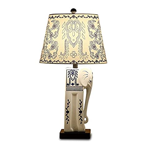 sjqka de Chinese Blue and White porcelain Ceramic Table Lamp, main Painted Elephant Blue Fabric Lamp