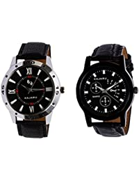 Kajaru KJR-10,9 Round Black Dial Analog Watch Combo For Men (Pack Of 2)