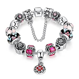 Carina Sterling Silver Plated Pandora Style Charms Bracelet with Flower and Youth for Women Girls