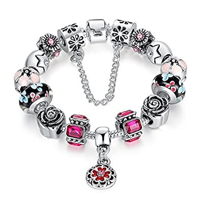 buy valentine gifts carina sterling silver pandora style charms bracelet for girls women with flower and youth charms online at low prices in india - Pandora Valentine Bracelet
