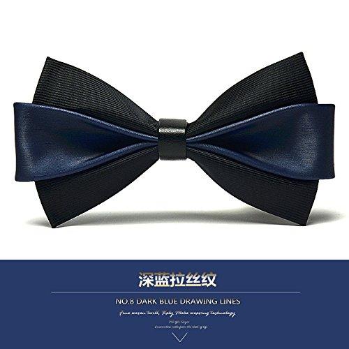 lpkone-Cuir synthétique de qualité noeud papillon grain men's Dress Wedding hébergé en Angleterre bow Dark Blue