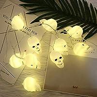 Queta 100/Set LED Skull Lichterkette, Creative Wasserdicht 1,5m/150cm Ghost Skelett Lichterkette mit Batteriebetrieb für Halloween Ghost Festival, warm weiß Farbe