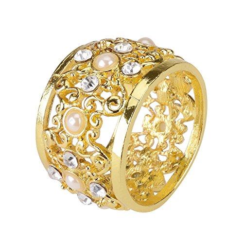 Syndecho set di 4 anello portatovaglioli,elegante diamante perle wedding anello di tovagliolo per festa di nozze tavola decorazione (dorato)