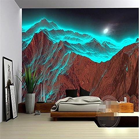 Lwcx Wandbild 3D Wallpaper Luxus Qualität Hd Nacht Mountain Bestrahlung seltsame grüne Natur 3D-große Wallpaper 300 X 210 (Hd Weihnachten Wallpaper)