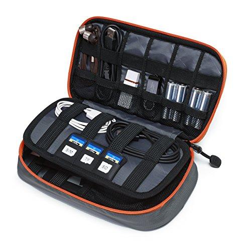 BAGSMART Zubehör Organizer Handliche Elektronik Tasche Reise Doppelte Fächer für 2,5 Zoll Festplatte Powerbank Kabel Akkus USB Sticks, Grau (Utility-organizer-box)