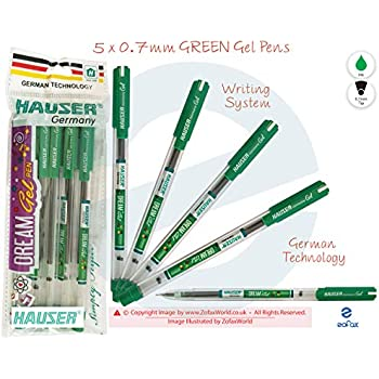 HAUSER Dream 5 x 0.7mm Tip BLACK Ink Quality Smooth Writing Gel Pens Easy Grip