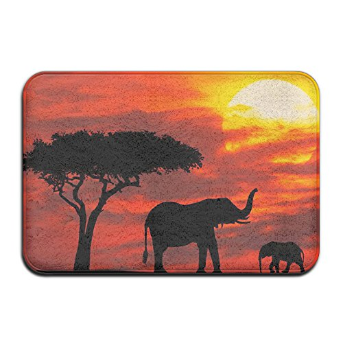 Bosque de puesta de sol de elefantes suave y antideslizante alfombra de...