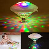 Picture Of YUNLIGHTS LED Bath Light Floating Swimming Pool Lights Waterproof Tub Light, Battery Powered, 7 Lighting Modes RGB Color Changing lights for Baths, Ponds, Pools Party