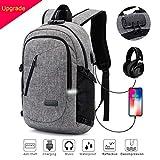 Laptop Rucksack Anti-Diebstahl 12-15.6 Zoll Laptoptasche Wasserdicht, Reflektierende Bänder + USB Ladeport + Kopfhöreranschluss, Ideal für Studenten/ Business/ Reisen, 19.7 x 11 x 7