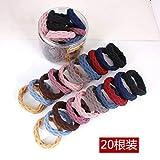 Huangrui 20 anelli per capelli in gomma con spessore ad alta elasticità, senza cuciture e piccola corda per legare