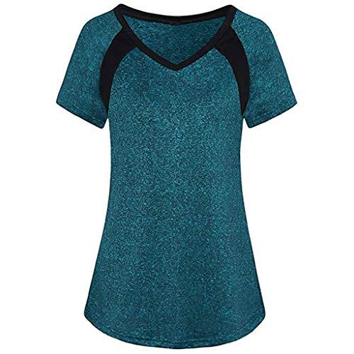 Tefamore Femmes Casual Court Manche Sport Yoga Cool Dri Workout T-Shirt Chemisier Tunique(Bleu,X-Large)